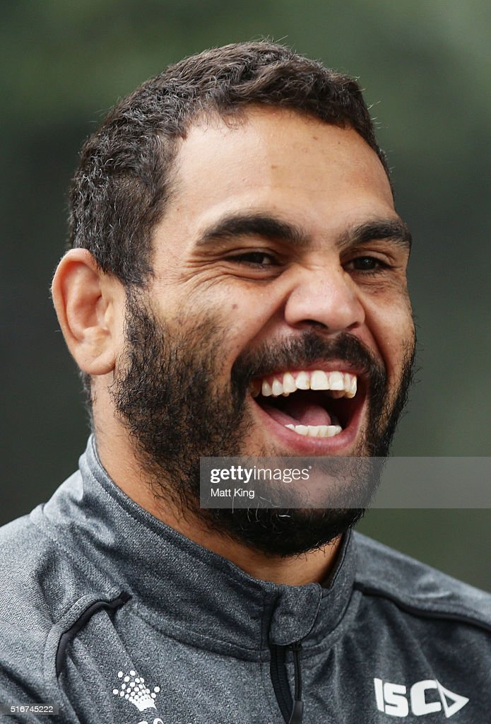 Greg Inglis talks to team mates during a South Sydney Rabbitohs NRL media session at Redfern Oval on March 21, 2016 in Sydney, Australia.