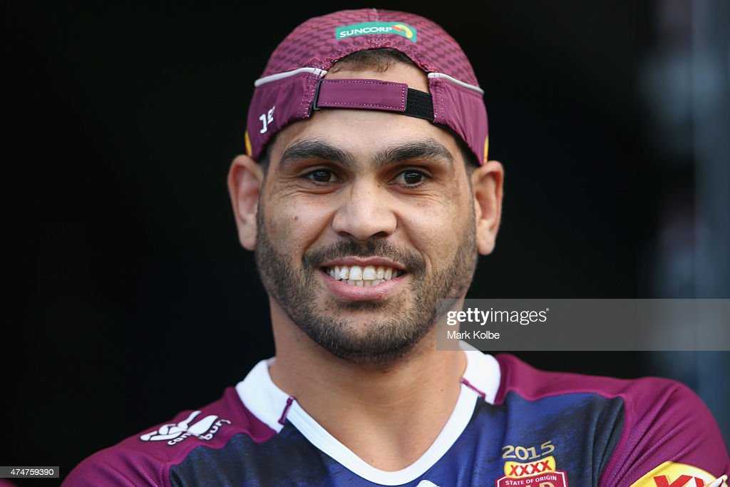 Greg Inglis walks out to the field for a Queensland Maroons State of Origin training session at ANZ Stadium on May 26, 2015 in Sydney, Australia.