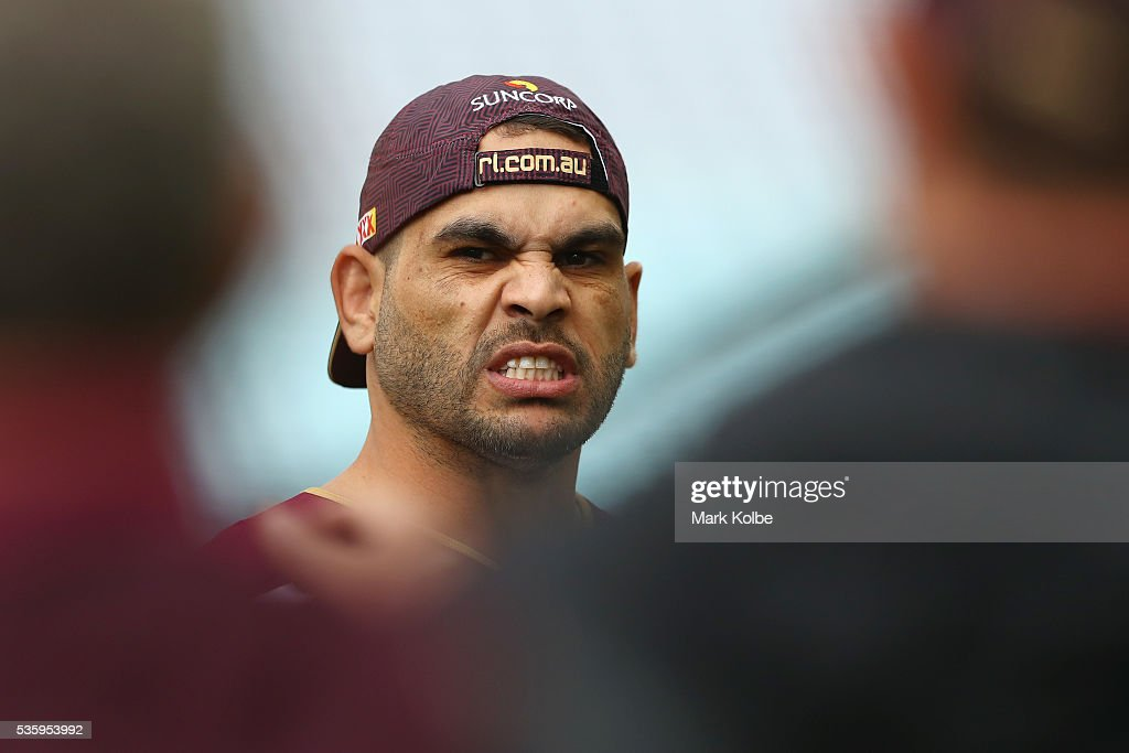 <a gi-track='captionPersonalityLinkClicked' href=/galleries/search?phrase=Greg+Inglis&family=editorial&specificpeople=597192 ng-click='$event.stopPropagation()'>Greg Inglis</a> watches on during a Queensland Maroons State Of Origin captain's run at ANZ Stadium on May 31, 2016 in Sydney, Australia.