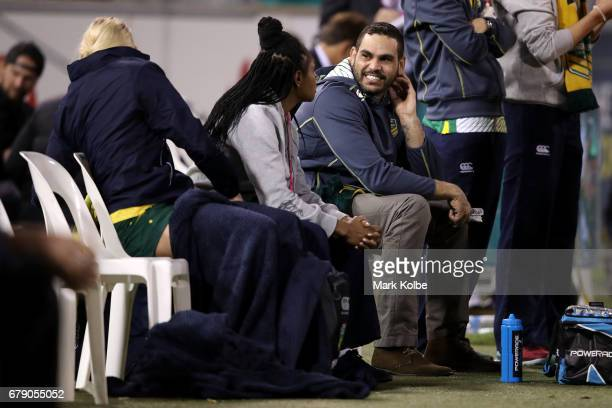 Greg Inglis watches on from the Jillaroos bench during the women's ANZAC Test match between the Australian Jillaroos and the New Zealand Kiwi Ferns...