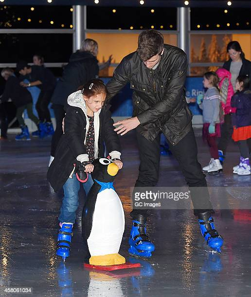 Greg James and his niece Pia attend The Natural History Museum Ice Rink Launch on October 29 2014 in London England
