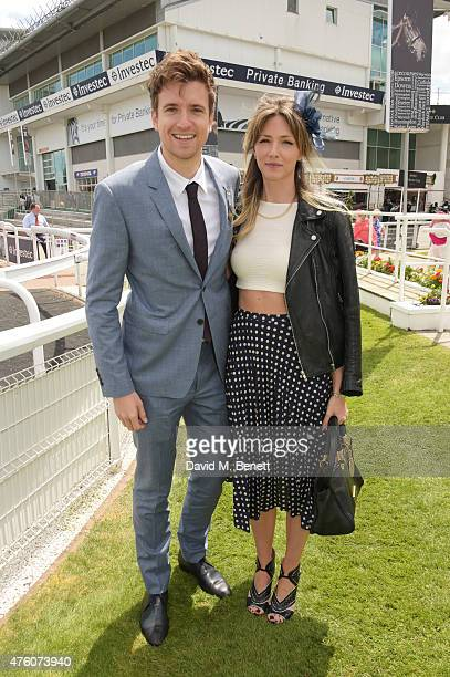 Greg James and Jess Lord attend Derby Day during the Investec Derby Festival at Epsom Racecourse on June 6 2015 in Epsom England