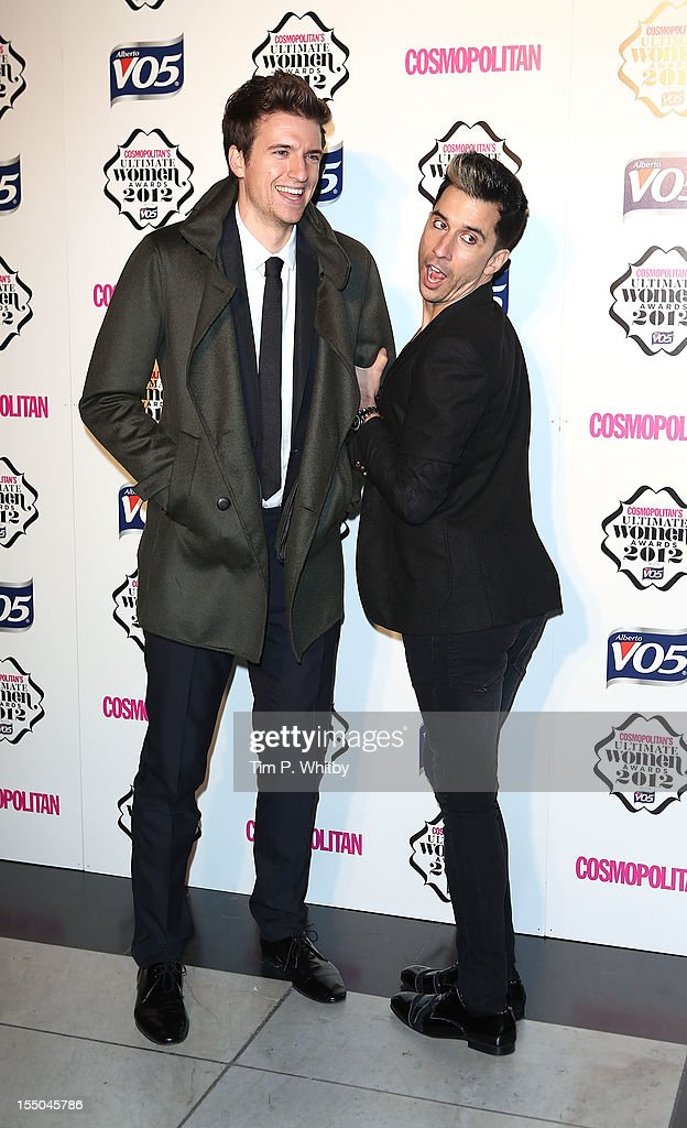 Greg James and Russell Kane attend the Cosmopolitan Ultimate Woman of the Year awards at Victoria & Albert Museum on October 30, 2012 in London, England.