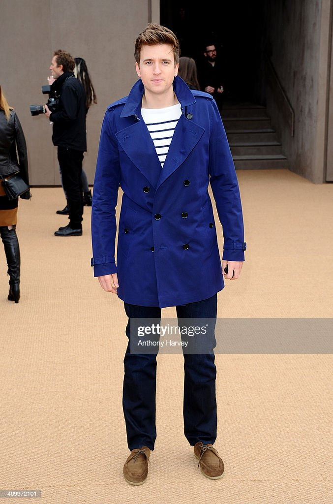 Greg James attends the Burberry Prorsum show at London Fashion Week AW14 at Kensington Gardens on February 17, 2014 in London, England.