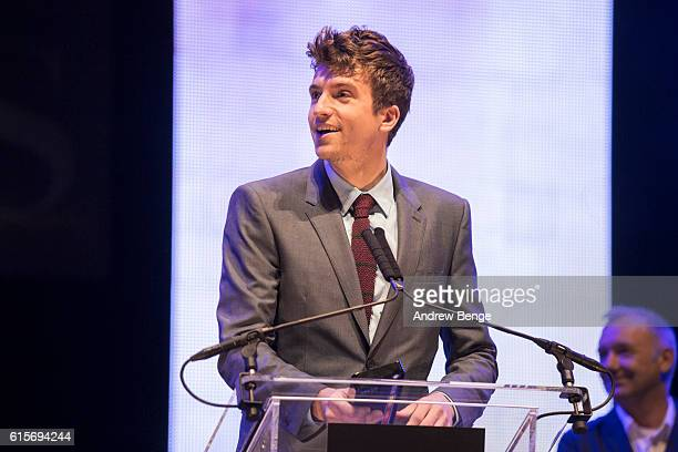 Greg James collects the award for 'Best Entertainment Production' at the Audio Radio Industry Awards at First Direct Arena Leeds on October 19 2016...