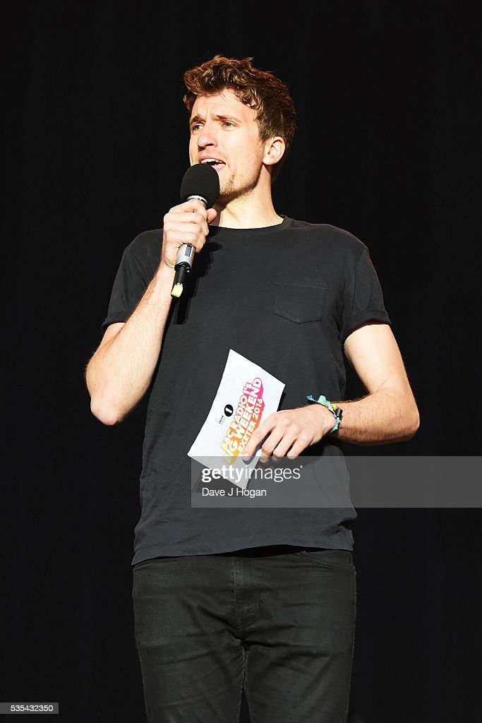 <a gi-track='captionPersonalityLinkClicked' href=/galleries/search?phrase=Greg+James&family=editorial&specificpeople=4190736 ng-click='$event.stopPropagation()'>Greg James</a> introducing Coldplay on stage during day 2 of BBC Radio 1's Big Weekend at Powderham Castle on May 29, 2016 in Exeter, England.