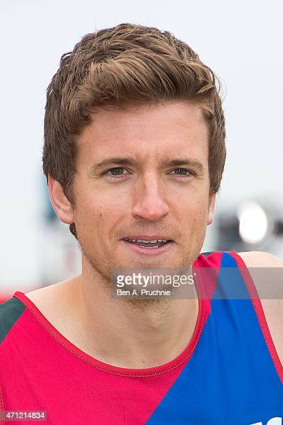 Greg James poses for photographs at the celebrity start at The London Marathon 2015 on April 26 2015 in London England
