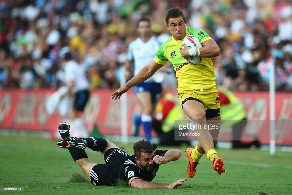 Greg Jeloudev of Australia makes a break the 2016 Sydney Sevens cup final match between Australia and New Zealand at Allianz Stadium on February 7, 2016 in Sydney, Australia.