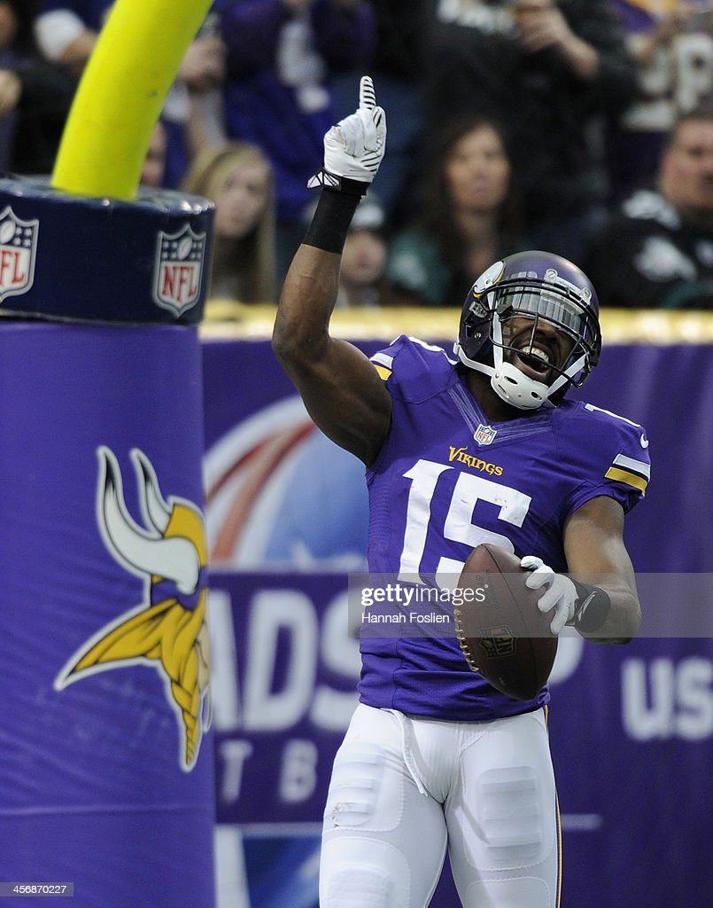 <a gi-track='captionPersonalityLinkClicked' href=/galleries/search?phrase=Greg+Jennings+-+American+Football+Player&family=editorial&specificpeople=2117148 ng-click='$event.stopPropagation()'>Greg Jennings</a> #15 of the Minnesota Vikings celebrates a touchdown during the first quarter of the game against the Philadelphia Eagles on December 15, 2013 at Mall of America Field at the Hubert H. Humphrey Metrodome in Minneapolis, Minnesota.