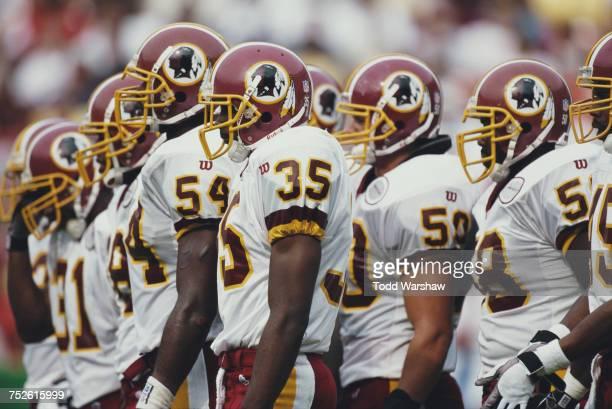 Greg Jones Leomont Evans Derek Smith and Patrise Alexander line up for the Washington Redskins defense during their National Football Conference East...