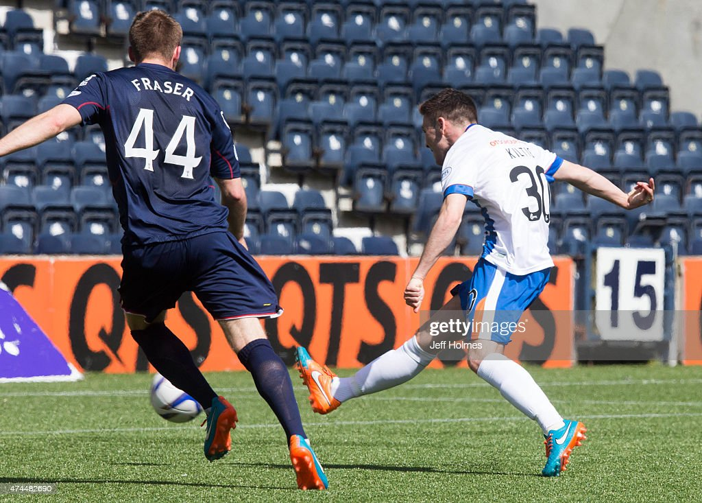 Greg Kiltie scores his goal for Kilmarnock at the Scottish premiership match between Kilmarnock and Ross County at Rugby Park on May 23, 2015 in Kilmarnock, Scotland.