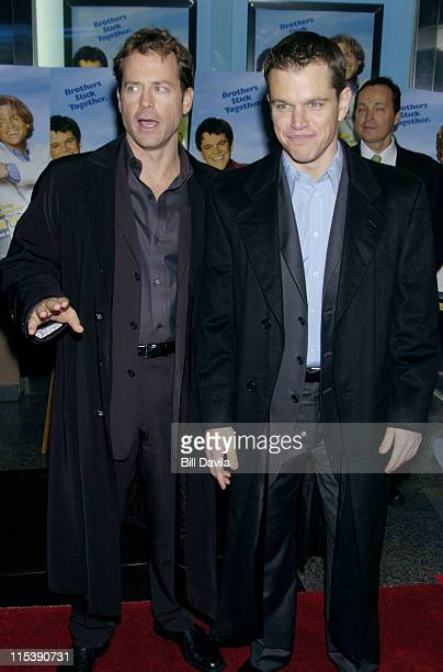 Greg Kinnear and Matt Damon during 'Stuck on You' New York Premiere at The Clearview Chelsea West Theater in New York City New York United States