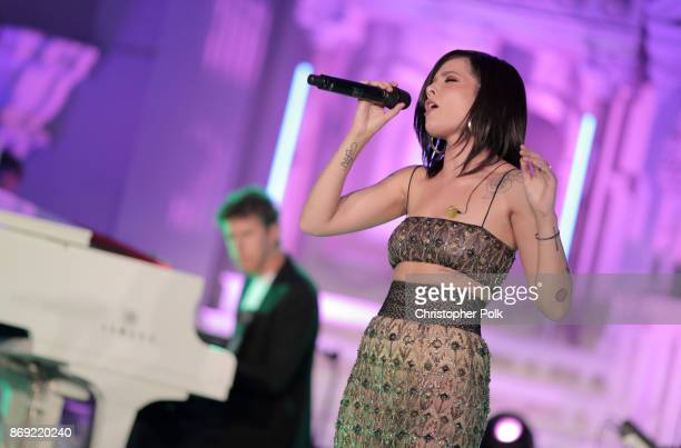 Greg Kurstin and Halsey perform onstage Spotify's Inaugural Secret Genius Awards hosted by Lizzo at Vibiana on November 1 2017 in Los Angeles...