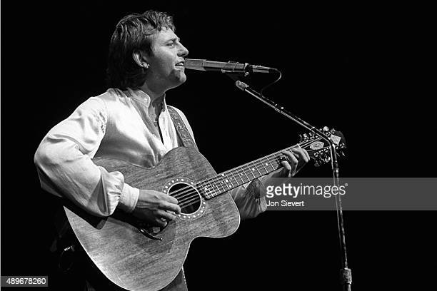 Greg Lake performs with Emerson Lake Palmer on August 4 1977 at the Cow Palace