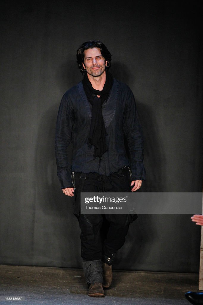 Greg Lauren greets the audience after presenting the Greg Lauren Fall 2015 collection during MercedesBenz Fashion Week at ArtBeam on February 18 2015...