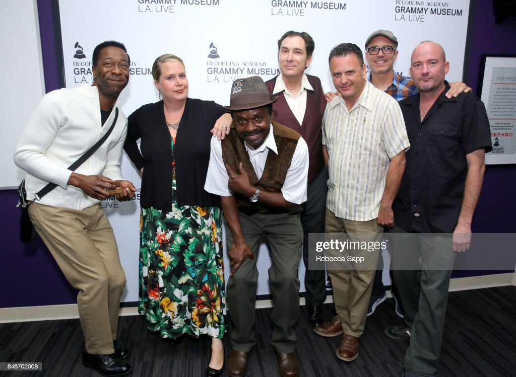 Greg Lee, Persephone 'Queen PÓ Laird, Junor Francis, Joey Altruda, Luis Correa, Eric Kohler and Brian Dixon attend History of LA Ska at The GRAMMY Museum on September 13, 2017 in Los Angeles, California.