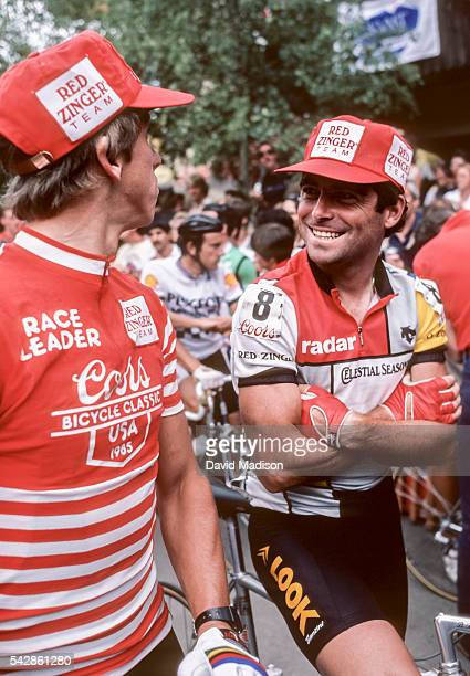 Greg Lemond of the USA and Bernard Hinault of France await the start of the Vail Criterium stage of the 1985 Coors Classic bicycle race on August 11...