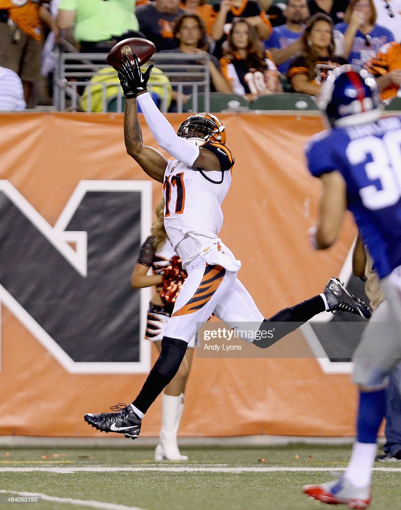 Greg Little #11 of the Cincinnati Bengals catches a pass against the New York Giants during an preseason game at Paul Brown Stadium on August 14, 2015 in Cincinnati, Ohio.