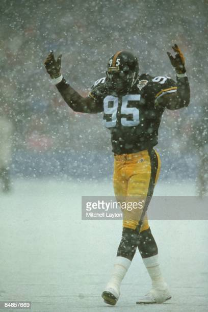 Greg Lloyd of the Pittsburgh Steelers during a NFL football game against the Detroit Lions on November 15 1992 at Three Rivers Stadium in Pittsburgh...