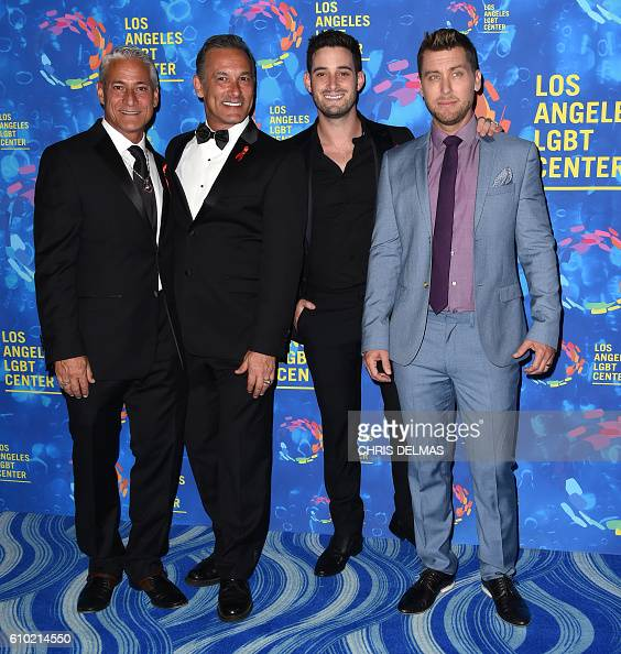 Greg Louganis and husband Johnny Chaillot and Michael Turchin and husband Lance Bass attends the Los Angeles LGBT Center's 47th Anniversary Gala...