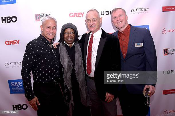 Greg Louganis Whoopi Goldberg Robby Browne and Michael Adams attend The 31st Annual Toys Party at Pier 60 on December 11 2016 in New York City