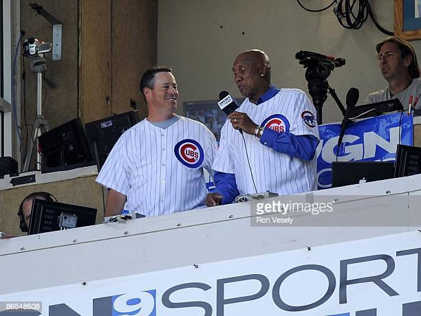 Greg Maddux and Ferguson Jenkins of the Chicago Cubs sing take me out to the ballgame during the game against the Florida Marlins on May 3 2009 at...