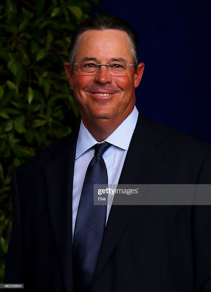 <a gi-track='captionPersonalityLinkClicked' href=/galleries/search?phrase=Greg+Maddux&family=editorial&specificpeople=202173 ng-click='$event.stopPropagation()'>Greg Maddux</a> attends the Hall of Fame Induction Ceremony at National Baseball Hall of Fame on July 26, 2015 in Cooperstown, New York. Craig Biggio,Pedro Martinez,Randy Johnson and John Smoltz were inducted in this year's class.