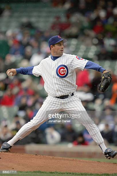 Greg Maddux of the Chicago Cubs pitches against the Pittsburgh Pirates on April 23 2005 at Wrigley Field in Chicago Illinois The Pirates defeated the...
