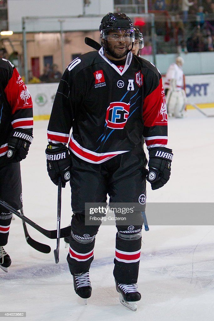 Greg Mauldin of Gotteron after his hattrick during the group stage match between Fribourg-Gotteron and Eisbaeren Berlin on August 23, 2014 in Fribourg, Switzerland.