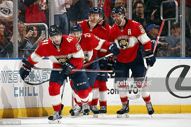 Greg McKegg of the Florida Panthers celebrates his goal with teammates against the Winnipeg Jets at the BBT Center on January 4 2017 in Sunrise...