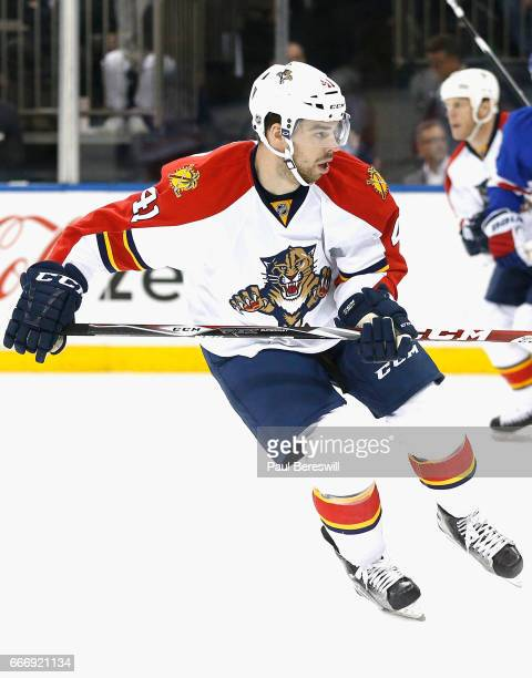 Greg McKegg of the Florida Panthers plays in the game against the New York Rangers at Madison Square Garden on March 21 2016 in New York New York