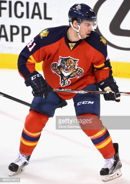 Greg McKegg of the Florida Panthers plays in the game against the Pittsburgh Penguins at BBT Center on February 15 2016 in Sunrise Florida