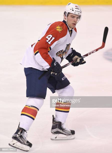 Greg McKegg of the Florida Panthers plays in the game against the Boston Bruins at TD Garden on March 25 2016 in Boston Massachusetts