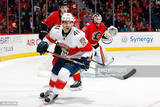 Greg McKegg of the Florida Panthers skates against the Calgary Flames during an NHL game on January 17 2017 at the Scotiabank Saddledome in Calgary...