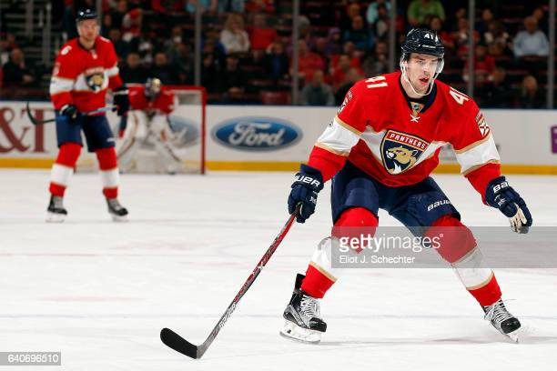 Greg McKegg of the Florida Panthers skates for position against the Ottawa Senators at the BBT Center on January 31 2017 in Sunrise Florida