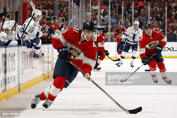 Greg McKegg of the Florida Panthers skates with the puck against the Tampa Bay Lightning at the BBT Center on January 26 2017 in Sunrise Florida
