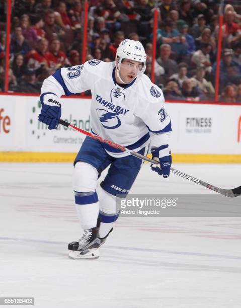 Greg McKegg of the Tampa Bay Lightning skates against the Ottawa Senators at Canadian Tire Centre on March 14 2017 in Ottawa Ontario Canada