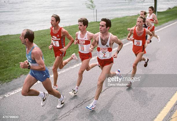 Greg Meyer John Tuttle Dave Gordon Alberto Salazar Dean Matthews Bill Rogers and Tony Sandoval compete in the 1984 Men's Marathon Olympic Trials held...