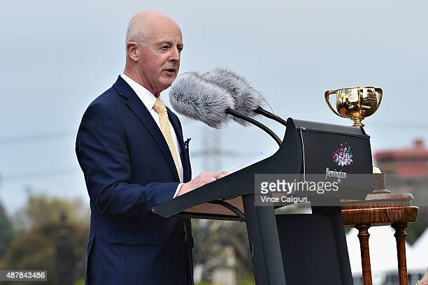Greg Miles racecaller of the 34 Melbourne Cups speaks during the public memorial for Bart Cummings at Flemington Racecourse on September 12 2015 in...