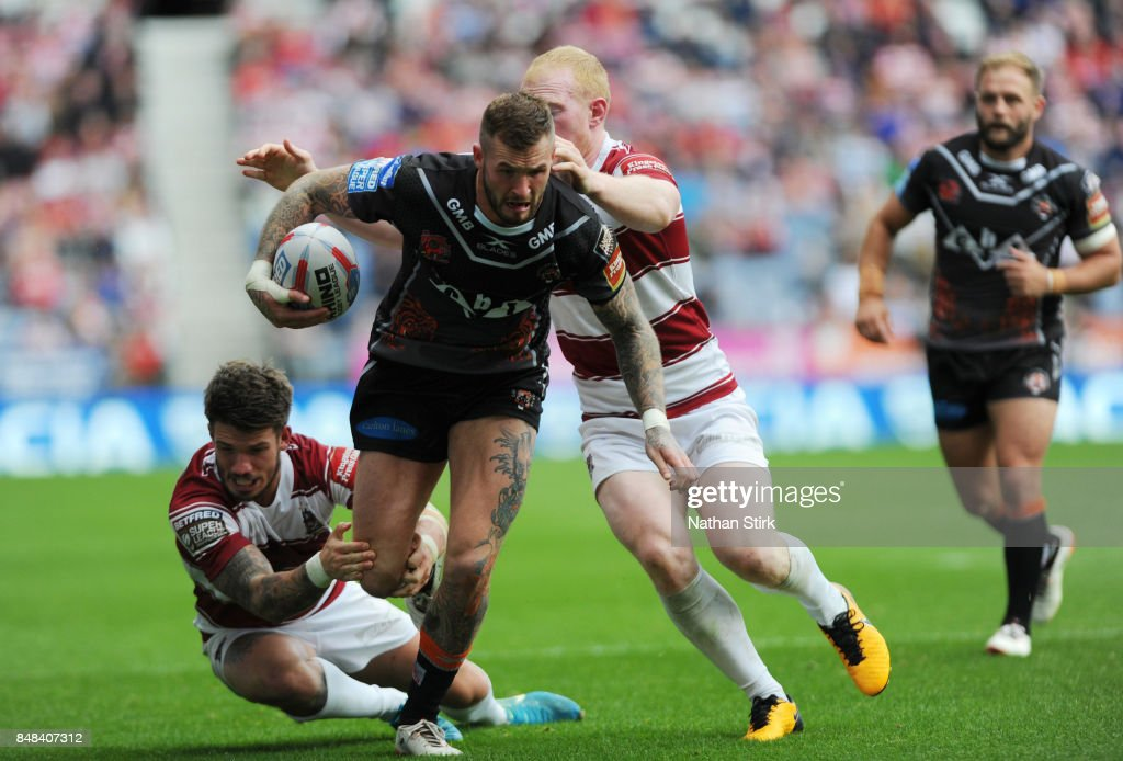 Greg Minikin of Castleford Tigers in action during the Betfred Super League Super 8s Round 6 match between Wigan Warriors and Castleford Tigers at DW Stadium on September 17, 2017 in Wigan, England.