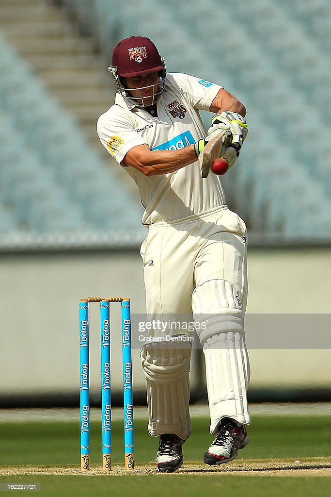 Greg Moller of the Bulls bats during day four of the Sheffield Shield match between the Victorian Bushrangers and the Queensland Bulls at Melbourne Cricket Ground on February 21, 2013 in Melbourne, Australia.
