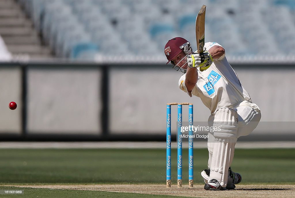 Greg Moller of the Queensland Bulls hits the ball but gets caught behind during day one of the Sheffield Shield match between the Victorian Bushrangers and the Queensland Bulls at Melbourne Cricket Ground on February 18, 2013 in Melbourne, Australia.