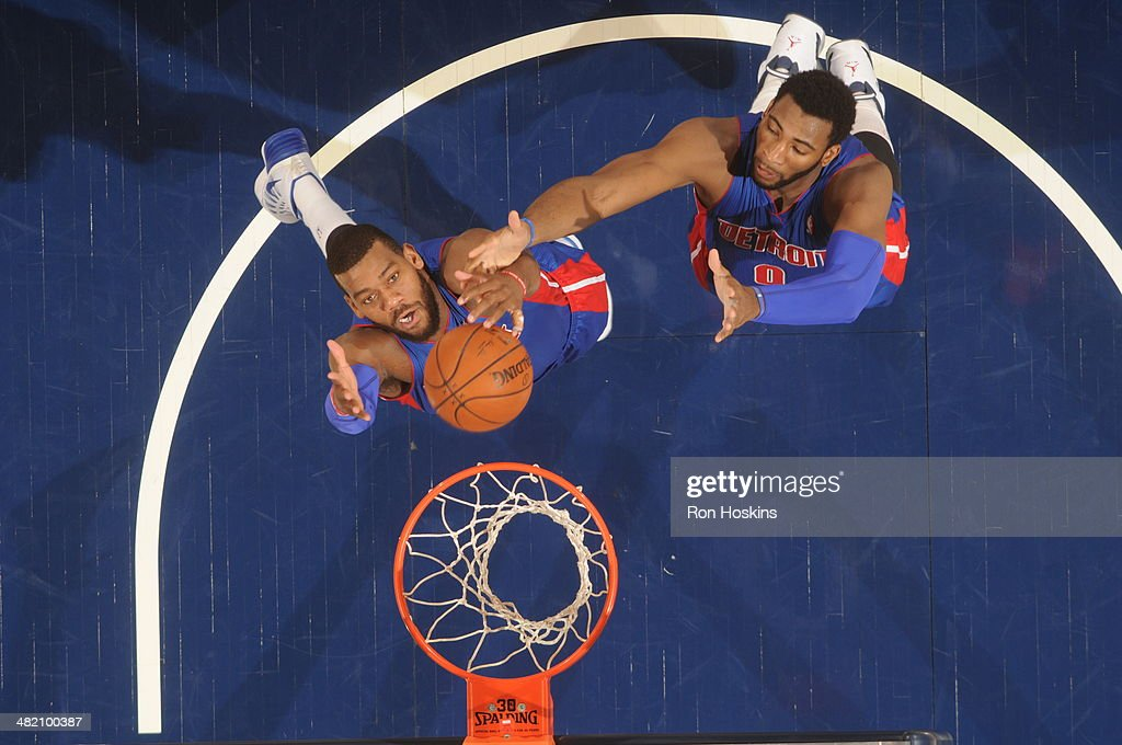 <a gi-track='captionPersonalityLinkClicked' href=/galleries/search?phrase=Greg+Monroe&family=editorial&specificpeople=5042440 ng-click='$event.stopPropagation()'>Greg Monroe</a> #10 and <a gi-track='captionPersonalityLinkClicked' href=/galleries/search?phrase=Andre+Drummond&family=editorial&specificpeople=7122456 ng-click='$event.stopPropagation()'>Andre Drummond</a> #0 of the Detroit Pistons reach for a rebound against the Indiana Pacers at Bankers Life Fieldhouse on April 2, 2014 in Indianapolis, Indiana.