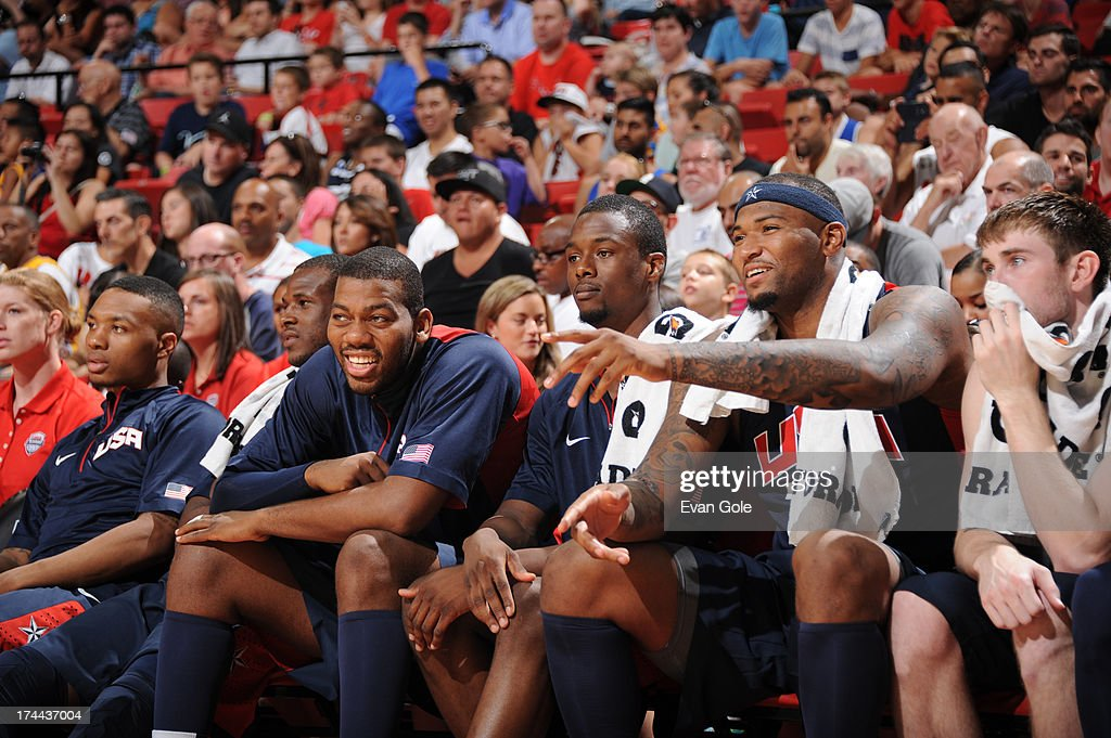 Greg Monroe #62, Harrison Barnes #46 and DeMarcus Cousins #36 of the USA Blue Team on the bench against the USA White Team during 2013 USA Basketball Showcase at Thomas & Mack Center at UNLV on July 25, 2013, in Las Vegas, Nevada.