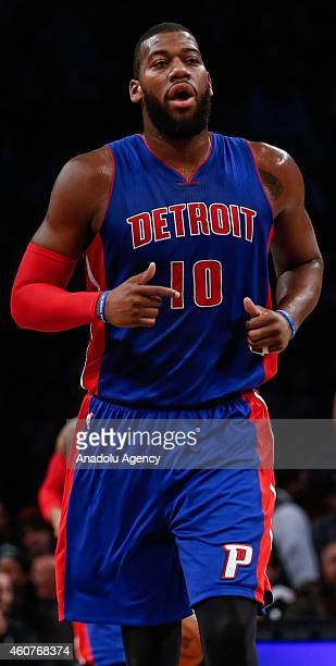 Greg Monroe of Detroit Pistons in action during NBA basketball game between Brooklyn Nets and Detroit Pistons at the Barclays Center in the Brooklyn...