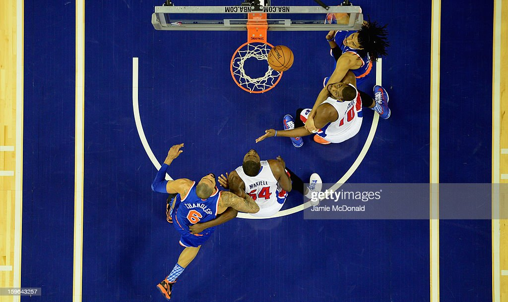 Greg Monroe of Detroit Pistons score a basket during the NBA London Live 2013 game between New York Knicks and the Detroit Pistons at the O2 Arena on January 17, 2013 in London, England.