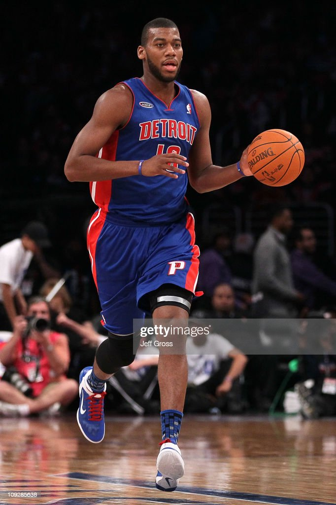 <a gi-track='captionPersonalityLinkClicked' href=/galleries/search?phrase=Greg+Monroe&family=editorial&specificpeople=5042440 ng-click='$event.stopPropagation()'>Greg Monroe</a> #10 of the Detroit Pistons and the Rookie Team moves the ball up court in the first half during the T-Mobile Rookie Challenge and Youth Jam at Staples Center on February 18, 2011 in Los Angeles, California.