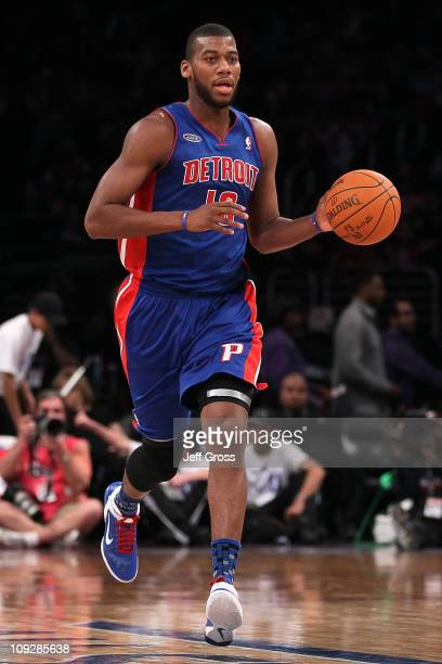Greg Monroe of the Detroit Pistons and the Rookie Team moves the ball up court in the first half during the TMobile Rookie Challenge and Youth Jam at...