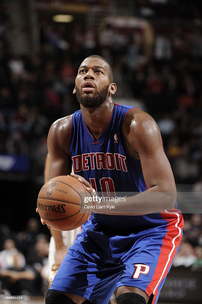 <a gi-track='captionPersonalityLinkClicked' href=/galleries/search?phrase=Greg+Monroe&family=editorial&specificpeople=5042440 ng-click='$event.stopPropagation()'>Greg Monroe</a> #10 of the Detroit Pistons attempts a foul shot against the Cleveland Cavaliers at The Quicken Loans Arena on April 10, 2013 in Cleveland, Ohio.