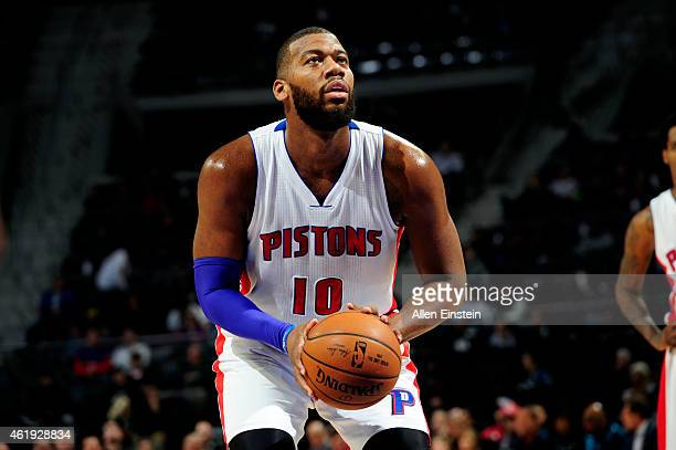 Greg Monroe of the Detroit Pistons attempts a free throw against the Orlando Magic on January 21 2015 at The Palace of Auburn Hills in Auburn Hills...